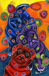 Art: Pug Pile by Artist Alma Lee