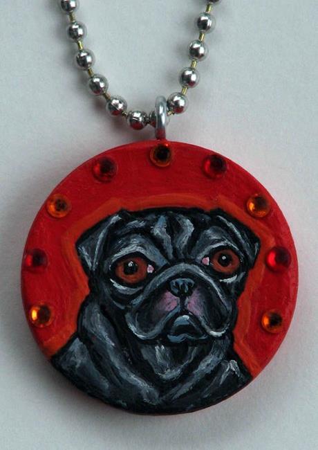 Art: Le Pug Pendant by Artist Melinda Dalke