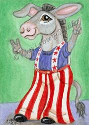 Art: RWB Donkey - Vote 4 Me! SOLD by Artist Kim Loberg