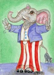 Art: RWB Elephant - Vote 4 Me! SOLD by Artist Kim Loberg