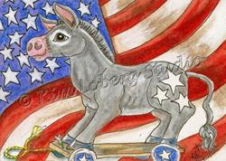 Art: Stars & Stripes Donkey Pull Toy by Artist Kim Loberg