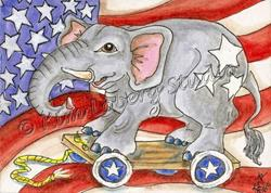 Art: Stars & Stripes Elephant Pull Toy SOLD by Artist Kim Loberg