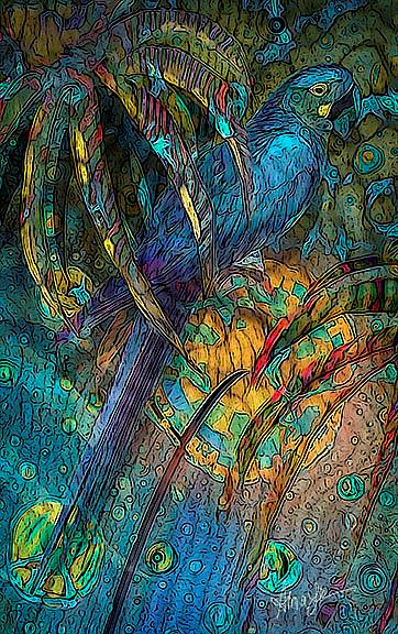 Art: Light Filled, Sun Chilled Blue Parrot by Artist Alma Lee