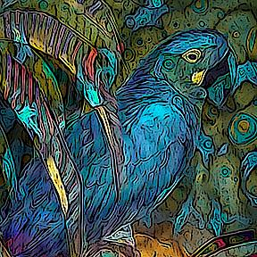 Detail Image for art Light Filled, Sun Chilled Blue Parrot