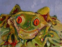 Art: Orange Eyed Frog by Artist Delilah Smith