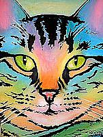 Art: Tie-Dye Cat by Artist Lindi Levison