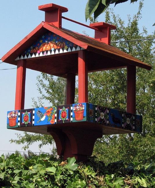 Art: Whimsy Bird Feed House by Artist Melinda Dalke
