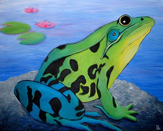 Art: Green Frog Blues by Artist Lindi Levison