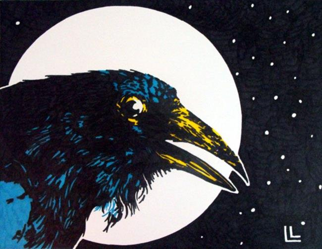 Art: Raven Moon by Artist Lindi Levison