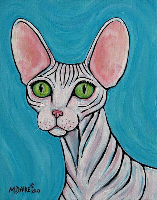 Art: Sphynx Cat with Green Eyes by Artist Melinda Dalke