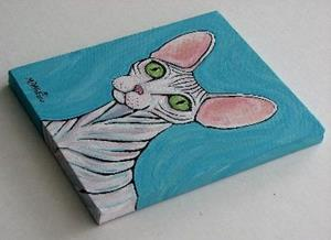Detail Image for art Sphynx Cat with Green Eyes