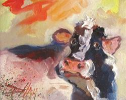 Art: Cow Expressions by Artist Delilah Smith
