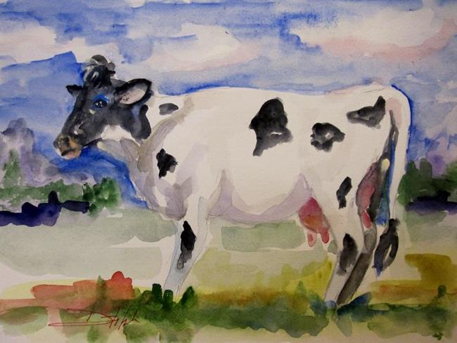 Art: Black and White Cow by Artist Delilah Smith