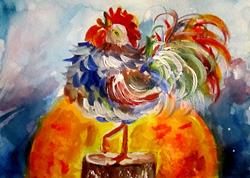 Art: Sun Rise Rooster No.3-SOLD by Artist Delilah Smith
