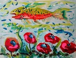 Art: Trout and Poppies-SOLD by Artist Delilah Smith