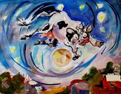 Art: The Cow Jumped Over the Moon-sold by Artist Delilah Smith