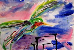 Art: Abstract Hummingbird by Artist Delilah Smith