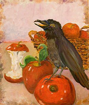 Art: Apples and Raven-SOLD by Artist Delilah Smith