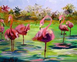 Art: Flamingos by Artist Delilah Smith