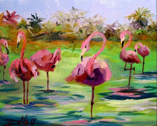 Art: Flamingos by Artist Delilah Smith
