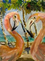 Art: Pink Flamingos-Sold by Artist Delilah Smith