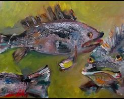 Art: Black Sea Bass by Artist Delilah Smith
