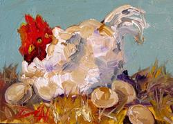 Art: Hen with Eggs by Artist Delilah Smith