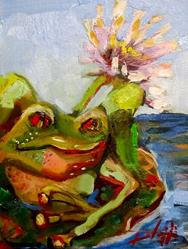 Art: Frog=SOLD by Artist Delilah Smith