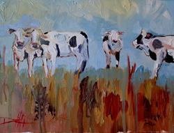 Art: Abstract Cows-sold by Artist Delilah Smith