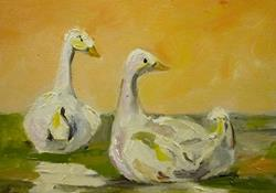 Art: Silent Pond Geese by Artist Delilah Smith