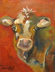Art: Calf on Red by Artist Delilah Smith