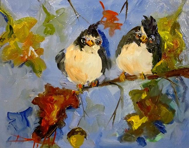Art: Chubby Birds in an Oak Tree by Artist Delilah Smith