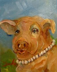 Art: Pearls on a Pig-sold by Artist Delilah Smith