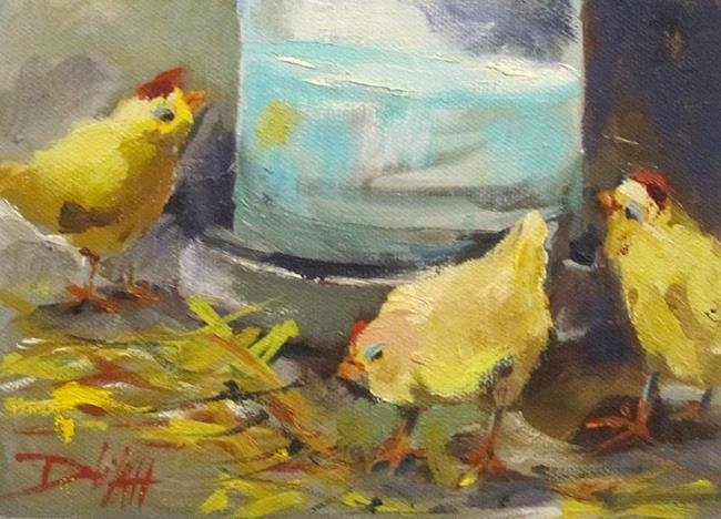 Art: Watering Little Chicks by Artist Delilah Smith