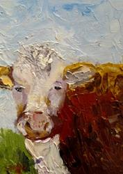 Art: White Face Cow by Artist Delilah Smith
