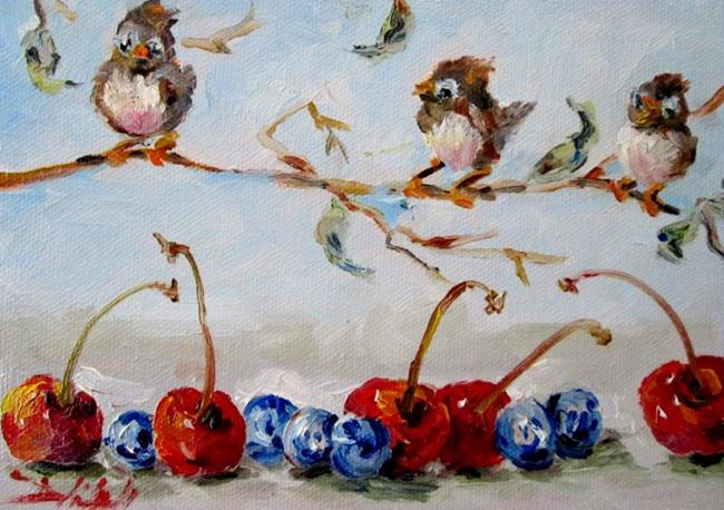 Art: Birds and Berries by Artist Delilah Smith