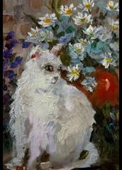 Art: White Cat by Artist Delilah Smith