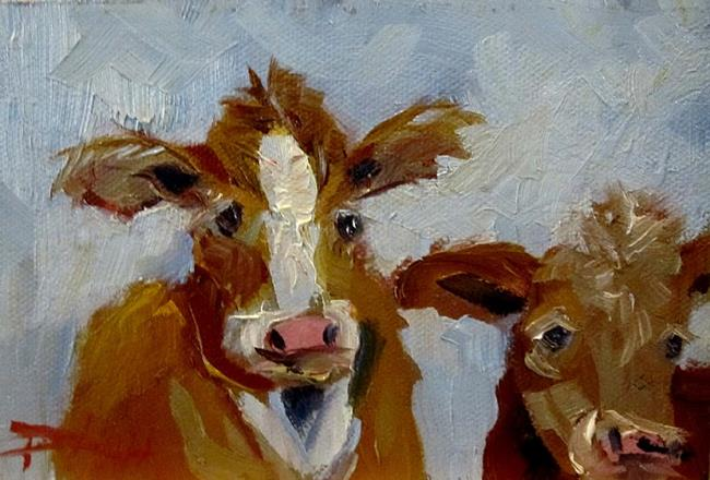 Art: Two Cows by Artist Delilah Smith