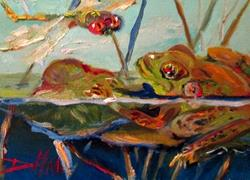 Art: Frog Pond and Dragonfly by Artist Delilah Smith