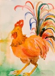 Art: Rooster with the Colorful Tail Feathers-sold by Artist Delilah Smith