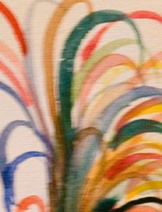 Detail Image for art Rooster with the Colorful Tail Feathers-sold