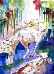 Art: whimsical Sheep-SOLD by Artist Delilah Smith