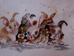 Art: Baby Bunnies-SOLD by Artist Delilah Smith
