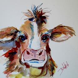 Art: Cow No 4-sold by Artist Delilah Smith