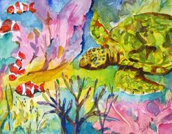 Art: Turtle and Clown Fish-sold by Artist Delilah Smith