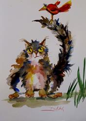 Art: Fat Cat with Red Bird by Artist Delilah Smith