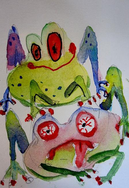 Art: Leap Frog  Aceo by Artist Delilah Smith