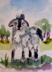 Art: Ba Ba Black Sheep Aceo by Artist Delilah Smith