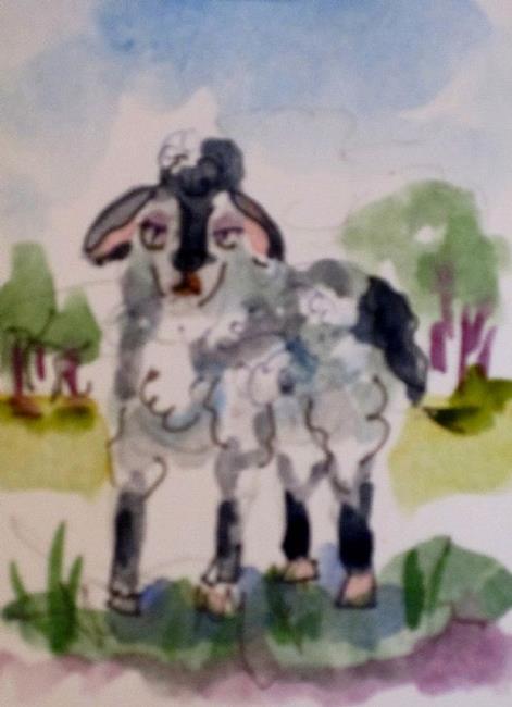 Art: Ba Ba Black Sheep Aceo by Artist Delilah Smith