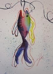 Art: Fish on a Hook by Artist Delilah Smith